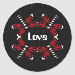 Love, dragonflies in red & white on black round stickers
