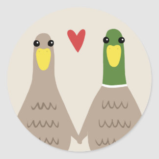 Love Ducks Classic Round Sticker