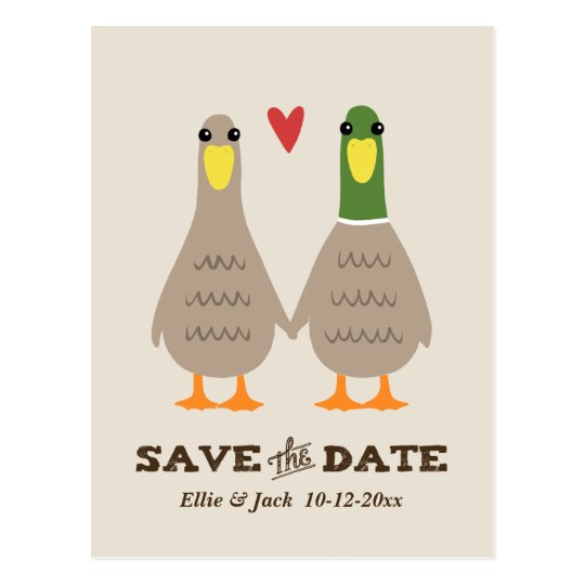 Love Ducks Wedding Save the Date Postcard