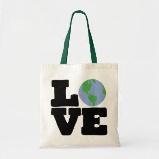 Love Earth black text Canvas Bag