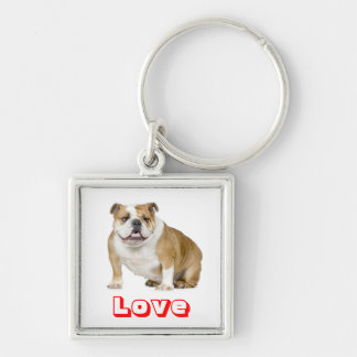 Love English Bulldog Puppy Dog Keychain