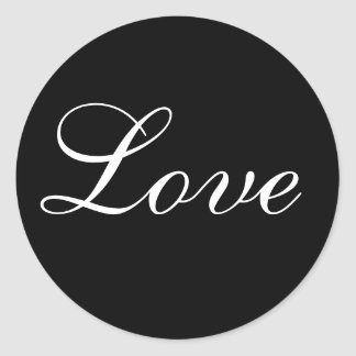 Love Envelope Seal In Black And White Round Sticker