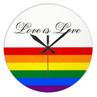 Love Equality Rainbow Flag LGBT Lesbian Gay Pride Large Clock