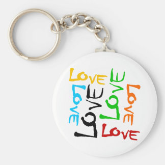 Love Every Which Way In 6 Colors Basic Round Button Key Ring