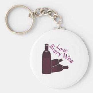 Love Every Wine Basic Round Button Keychain
