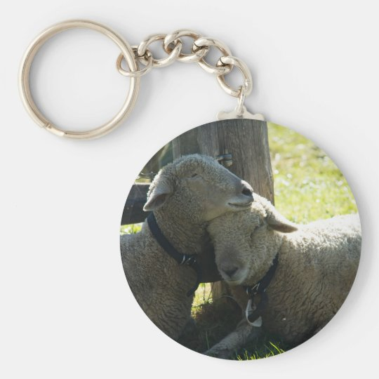 Love Ewe Sheep Basic Round Button Key Ring