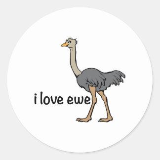 Love Ewe Round Sticker