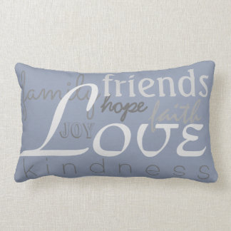 Love Faith Family Gray Blue Throw Pillow