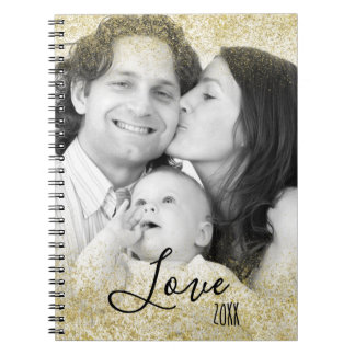 Love Family Faux Gold Glitter Dust Notebook