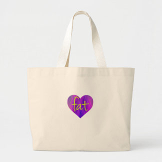 Love Fat (Purple and Yellow) Large Tote Bag