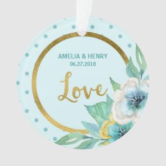 Love Faux Gold, Mint, Watercolor Floral Wedding Ornament
