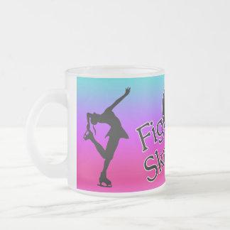 love figure skating, pink, aqua heart colorful mug
