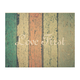 """Love First"" Romantic Shabby Planks Wall Art"
