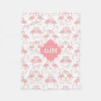 Love Flamingos Pink Polkadot Monogram Fleece Blanket