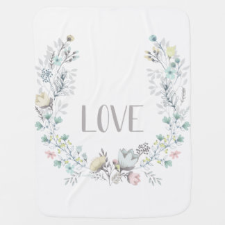 LOVE Floral Baby Blanket