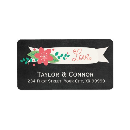 Love Floral Chalkboard Wedding Address Labels