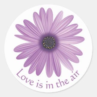Love Floral Purple Lavender Daisy Flower Round Sticker