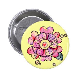 Love Flower 6 Cm Round Badge