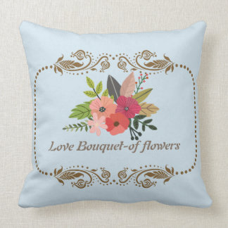 Love Flower Bouquet Polyester Throw Pillow