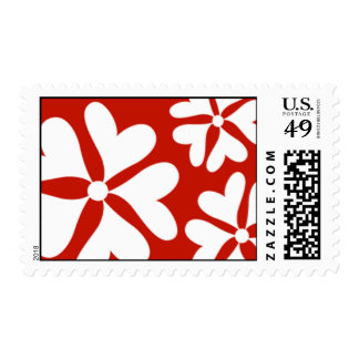 Love Flower Hearts Red & White Postage Stamp