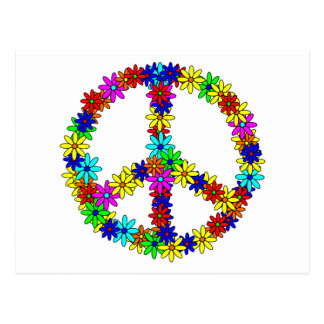Love Flower Peace Sign Postcard