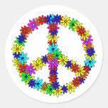 Love Flower Peace Sign Round Sticker