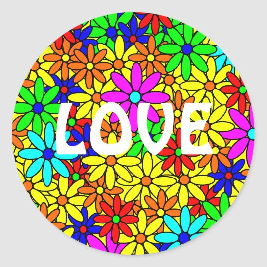 Love Flower Power Collage Stickers