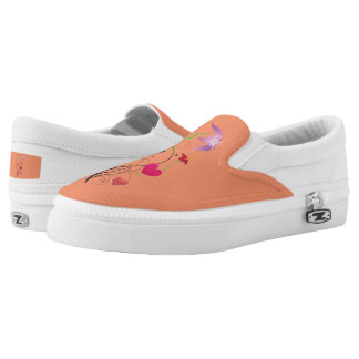 Love Flowers Orange Zipz Slip-On Shoes US-Women