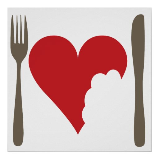 Love food Love heart Poster