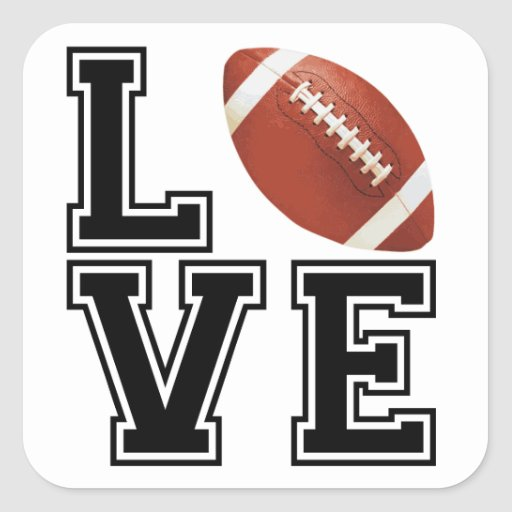 Love Football College Style Square Stickers
