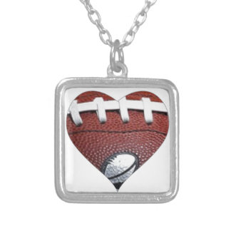 LOVE FOOTBALL SQUARE PENDANT NECKLACE