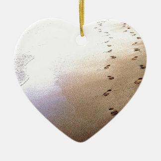 Love Footprints Two Sets Walking Beach Barbados Christmas Ornament