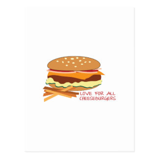 Love For All Cheeseburgers Postcard