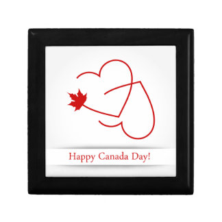 Love for Canada card with maple leaf and red heart Small Square Gift Box