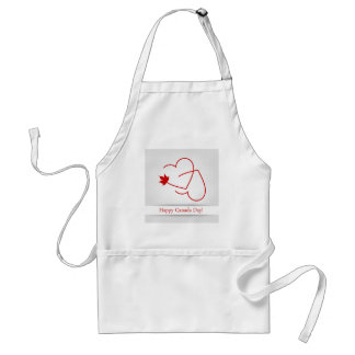 Love for Canada card with maple leaf and red heart Standard Apron