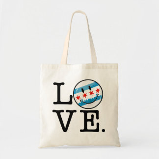 Love for Chicago Smiling Flag Budget Tote Bag