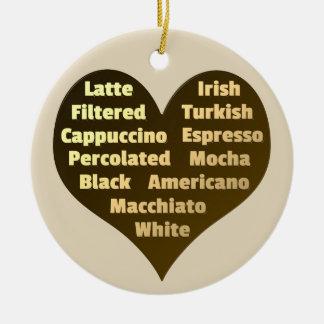 Love for Coffee Ceramic Ornament