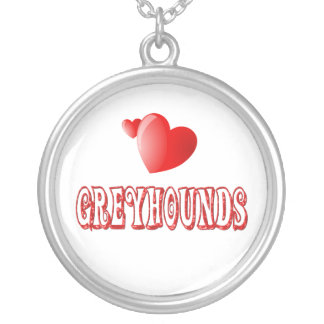 Love for Greyhounds Round Pendant Necklace