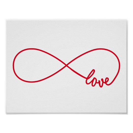 Love forever, red infinity sign, never ending love poster