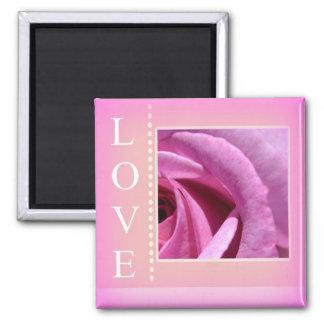 Love Framed Rose Square Magnet