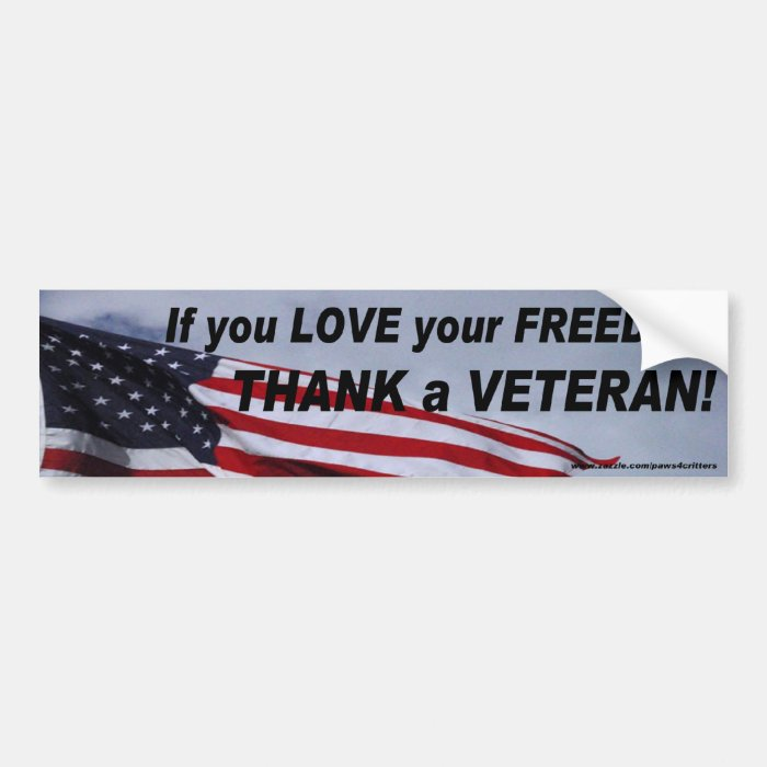 Love Freedom Thank A Vet Bumper Sticker