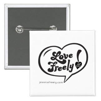 Love Freely Jessica Freely Button, Square 2 Inch Square Button