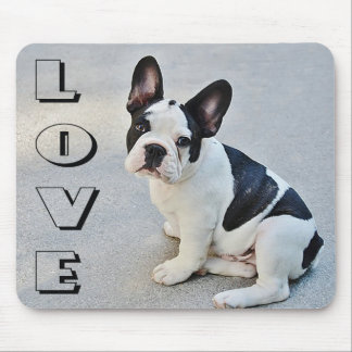 Love French Bulldog Black And White Puppy Dog Mouse Mat