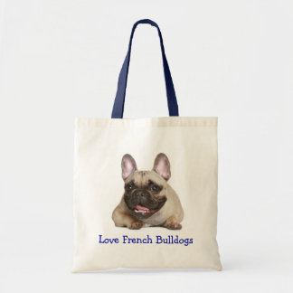 Love French Bulldog Puppy Dog Canvas Totebag Tote Bags
