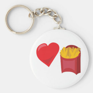 Love Fries!  Customizable: Basic Round Button Key Ring