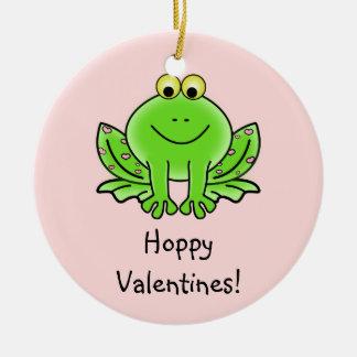 Love Frog Funny Greeting: Hoppy Valentine's Day Round Ceramic Decoration