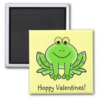 Love Frog Funny Greeting: Hoppy Valentine's Day Square Magnet