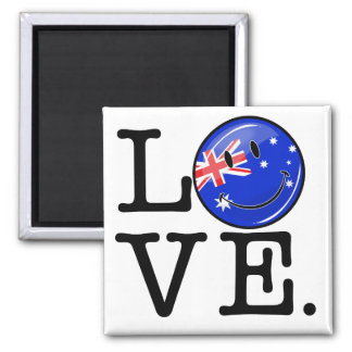 Love from Australia Smiling Flag Square Magnet