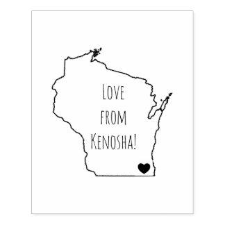 Love from Kenosha, WISCONSIN Rubber Stamp