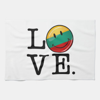 Love From Lithuania Smiling Flag Tea Towel